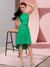 Green Scoop Neckline Belt Dress for Prom Sleeveless Zipper