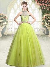 Dramatic Beading Prom Party Dress Yellow Green Zipper Sleeveless Floor Length