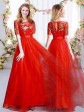 Best Selling Scoop Short Sleeves Zipper Damas Dress Red Tulle