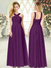 Stunning Purple Zipper Ruching Sleeveless Floor Length