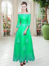 Glorious Turquoise Lace Up Off The Shoulder Lace Prom Dresses Tulle 3 4 Length Sleeve