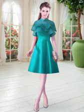 Ruffled Layers Homecoming Dress Teal Lace Up Cap Sleeves Knee Length