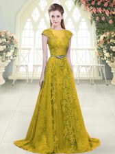 Charming Gold Cap Sleeves Sweep Train Beading and Lace and Appliques Prom Party Dress