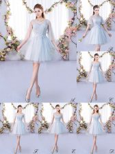 Grey Scoop Neckline Lace Quinceanera Court Dresses 3 4 Length Sleeve Lace Up
