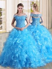 Exceptional Lace Up Sweet 16 Dress Baby Blue for Military Ball and Sweet 16 and Quinceanera with Beading and Lace and Ruffles Sweep Train