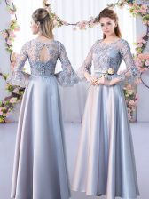 Charming Satin 3 4 Length Sleeve Floor Length Dama Dress for Quinceanera and Lace