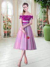 Extravagant Rose Pink A-line Off The Shoulder Sleeveless Tulle Tea Length Lace Up Appliques