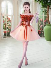 Custom Designed Beading and Appliques Prom Gown Peach Lace Up Sleeveless Mini Length