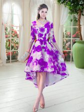 Sumptuous High Low A-line Half Sleeves White And Purple Prom Evening Gown Lace Up