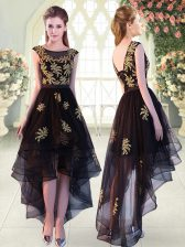 Black Scoop Lace Up Appliques Prom Dress Cap Sleeves