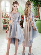 Dramatic Grey Tulle Lace Up Scoop Half Sleeves High Low Prom Dresses Appliques