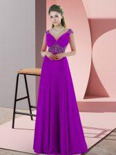 Chic Satin Spaghetti Straps Sleeveless Sweep Train Backless Beading Homecoming Dress in Purple