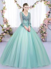 Stylish Apple Green Long Sleeves Tulle Lace Up Quinceanera Gowns for Military Ball and Sweet 16 and Quinceanera