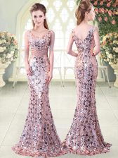 Unique Pink Sleeveless Floor Length Beading Zipper Prom Gown
