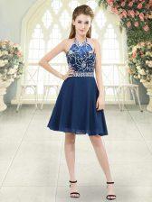 Halter Top Sleeveless Zipper Prom Evening Gown Blue Chiffon