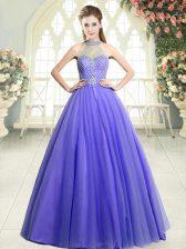 Custom Made Floor Length Lavender Prom Evening Gown Tulle Sleeveless Beading