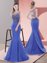 Blue Sleeveless Sweep Train Beading and Lace