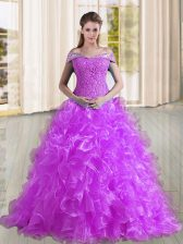 Charming Purple Organza Lace Up Quinceanera Dress Sleeveless Sweep Train Beading and Lace and Ruffles