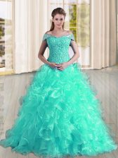 Free and Easy Sweep Train A-line Quinceanera Dress Turquoise Off The Shoulder Organza Sleeveless Lace Up