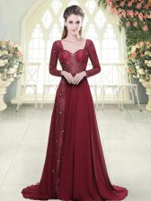 Cheap Long Sleeves Chiffon Brush Train Zipper Dress for Prom in Burgundy with Beading and Appliques