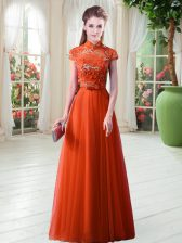 Tulle High-neck Cap Sleeves Lace Up Appliques in Orange Red