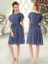 Elegant Blue Short Sleeves Belt Knee Length Prom Dresses