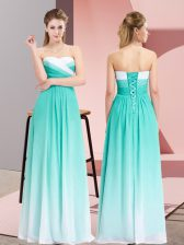 Gorgeous Turquoise Lace Up Sweetheart Ruching Prom Gown Chiffon Sleeveless