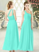 Fashion Ankle Length Zipper Prom Gown Aqua Blue for Prom and Party with Ruching