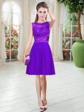 Purple Satin Zipper Prom Dress Sleeveless Knee Length Lace