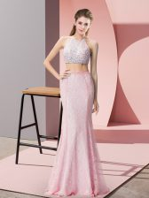 Fine Floor Length Two Pieces Sleeveless Pink Prom Dresses Backless