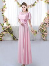 High Quality Scoop Short Sleeves Vestidos de Damas Floor Length Appliques Rose Pink Chiffon