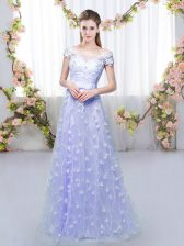 Cheap Lavender Tulle Lace Up Damas Dress Cap Sleeves Floor Length Appliques