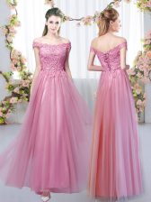 Off The Shoulder Sleeveless Tulle Quinceanera Dama Dress Lace Lace Up