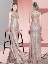 Flirting Baby Pink Sleeveless Floor Length Ruching Homecoming Dress
