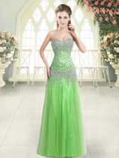 Simple Column/Sheath Prom Gown Sweetheart Tulle Sleeveless Floor Length Zipper