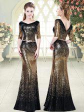 Gold V-neck Neckline Belt Dress for Prom Half Sleeves Zipper