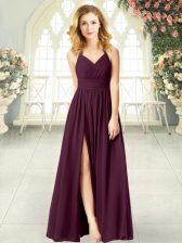 Burgundy Sleeveless Chiffon Zipper Prom Gown for Prom and Party