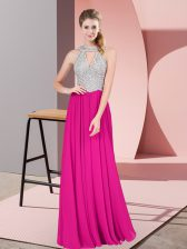 Sleeveless Chiffon Floor Length Zipper Prom Gown in Fuchsia with Beading