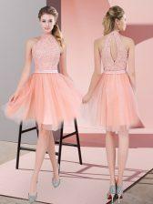 Peach A-line Beading Homecoming Dress Zipper Tulle Sleeveless Knee Length