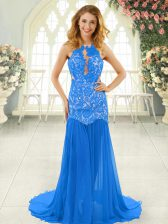 Blue Sleeveless Chiffon Brush Train Backless Homecoming Dress for Prom and Party