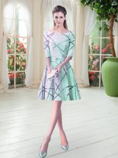 Spectacular Apple Green Lace Up Homecoming Dress Ruching Half Sleeves Knee Length