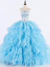High Quality Ball Gowns 15 Quinceanera Dress Baby Blue Sweetheart Tulle Sleeveless Floor Length Lace Up