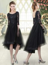 Black Half Sleeves Lace High Low Prom Party Dress