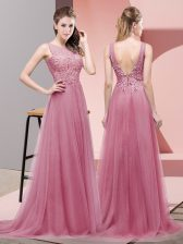 Cheap Scoop Sleeveless Sweep Train Lace Up Prom Evening Gown Pink Tulle