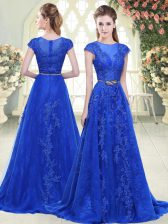 Scoop Cap Sleeves Sweep Train Lace and Appliques Blue Tulle