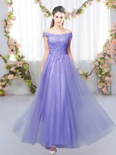 Stunning Off The Shoulder Sleeveless Court Dresses for Sweet 16 Floor Length Lace Lavender Tulle