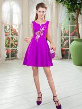 Custom Designed Purple Sleeveless Satin Zipper Evening Dress for Prom and Party
