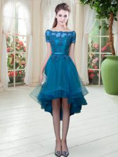 Trendy Teal Short Sleeves Tulle Lace Up Prom Party Dress for Prom and Party