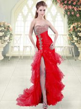 Spectacular Sleeveless Brush Train Lace Up Beading and Ruffled Layers Prom Evening Gown