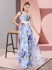 Floor Length Zipper Evening Dress Multi-color for Prom and Party with Pattern